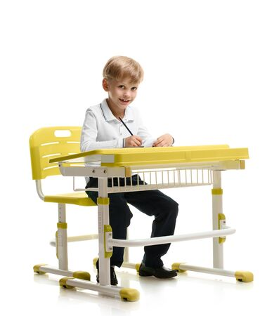 Happy schoolboy writing