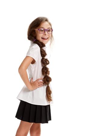 posing Smiling pretty girl in glasses