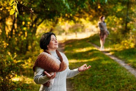 stroll: Meeting in autumn park