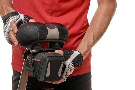 hand movement: Checking bikes bag