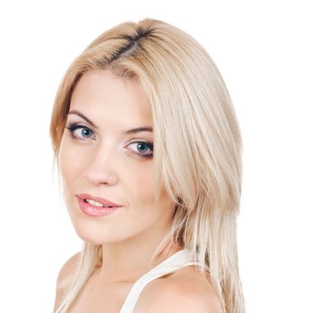 Aantrekkelijke en mooie blonde vrouw Stockfoto