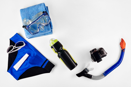 bather: Set of items for summer Vacation Stock Photo