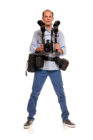 Male photographer with equipment