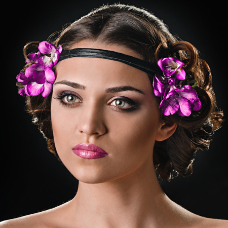 beauty with hairband and flowers