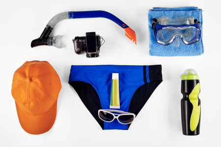 bather: Swimming diving snorkeling aquatic equipment on white background Stock Photo