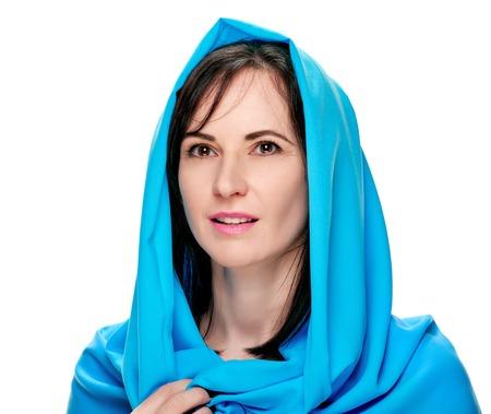 Gorgeous woman in shawl Stock Photo