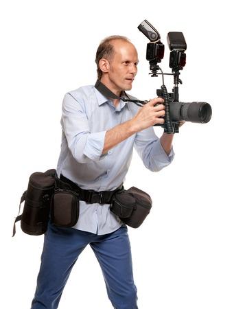 Handsome man photographer Stock Photo