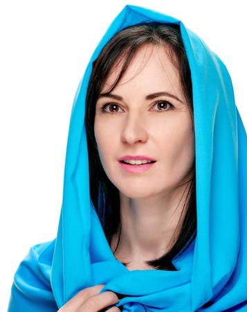 Gorgeous woman in shawl portrait Stock Photo