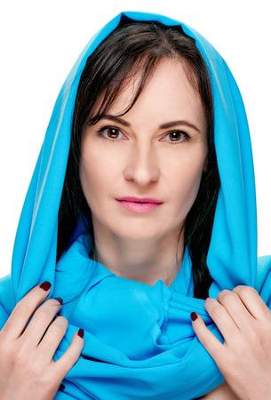 Sensual woman with shawl portrait Stock Photo