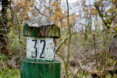Wooden old green quarter column in autumn forest