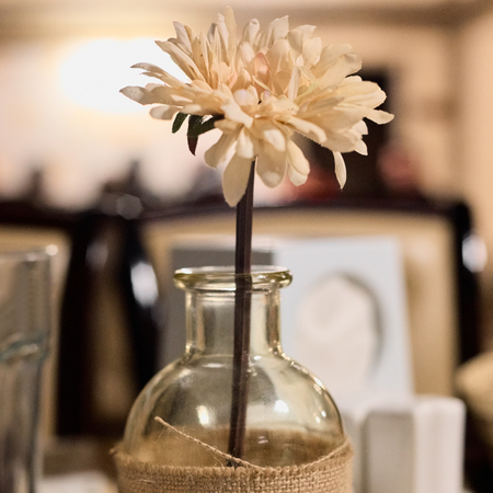 Flower on table in restaurant