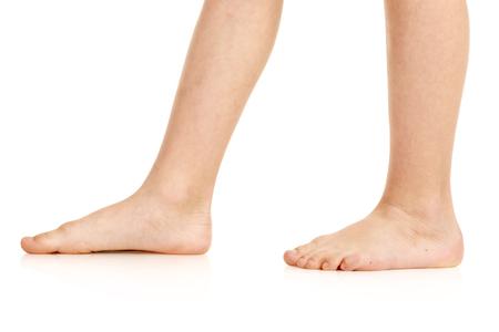 Side-view of barefoot legs Standard-Bild