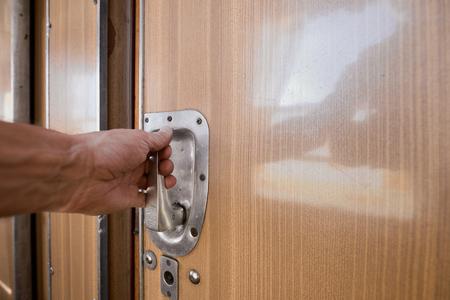door of the train compartment