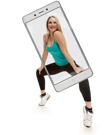 beauty woman with slim body. squatting on tiptoes Foto de archivo