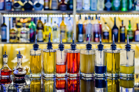 Alcohol drinks on counter