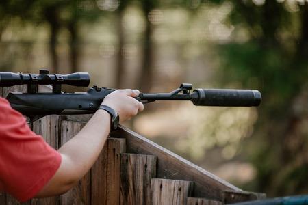Player aiming gun