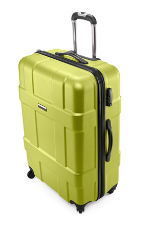 One light green modern travel suitcase with opened handle Stock Photo