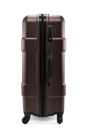 Side view photo of brown plastic travel suitcase with wheels