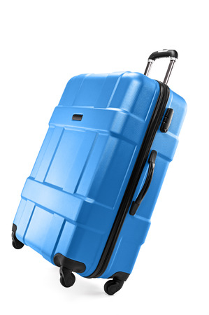 Modern plastic suitcase for traveler isolated on white background