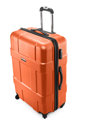 One orange modern travel suitcase with opened handle Stock Photo