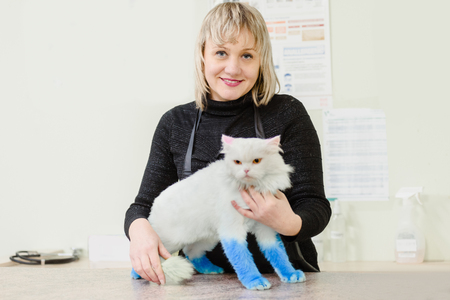 Happy owner with her cat after treatment in vet clinic