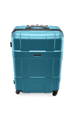 Plastic turquoise travel bag isolated on white background Stock Photo