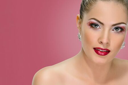 Sexy woman with red lips on background punch shade pink Banco de Imagens - 130058633