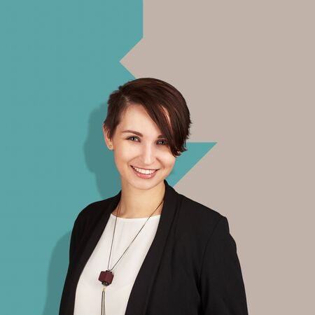Smiling successful modern businesswoman isolated on colorful background