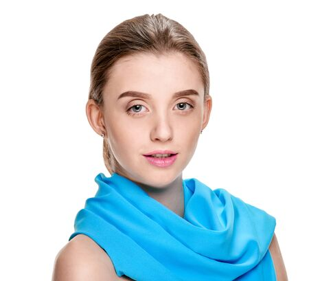 Portrait of beautiful young girl wearing blue shawl on white background Stockfoto - 129799484