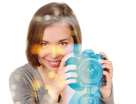portrait of young woman with camera on white, double multiple exposure effect,combined images Banco de Imagens