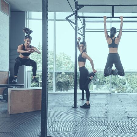 collage of young fit woman having functional training in gym, image with cold vintage toning Stockfoto