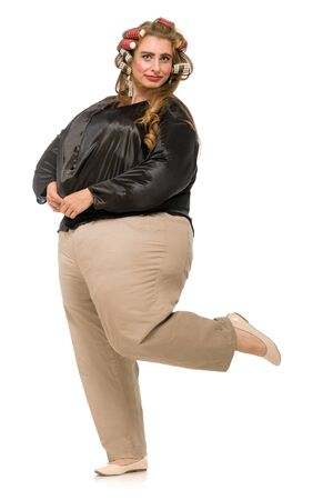 Happy plus size woman with sloppy makeup posing on white background