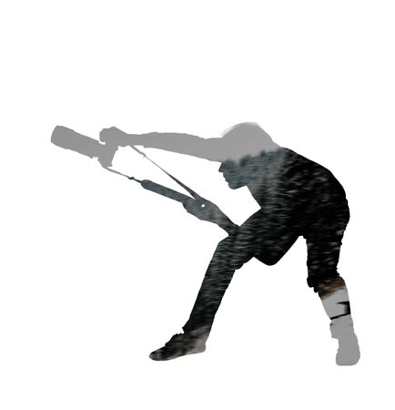 silhouette of man photographer on white background, double multiple exposure effect,combined images Imagens