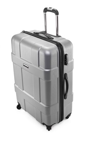One gray modern travel suitcase with opened handle