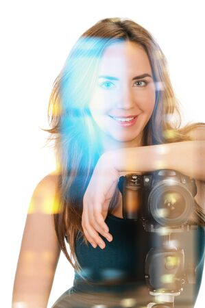 portrait of beauty woman with camera on white, double multiple exposure effect,combined images