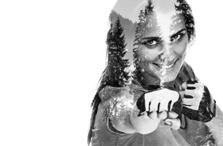 Young beautiful woman posing fitness time and boxing, double multiple exposure effect,combined images