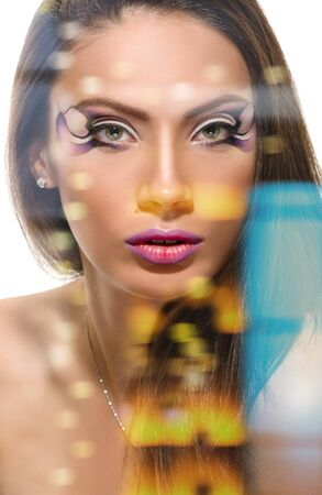 Beauty Girl. Portrait of Beautiful Young Woman looking at Camera. close-up portrait. Fresh Clean Skin, double multiple exposure effect,combined images