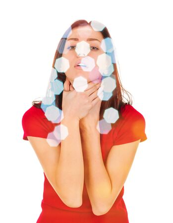 woman shows sign asphyxiation. Emotional on white background, double multiple exposure effect,combined images Archivio Fotografico