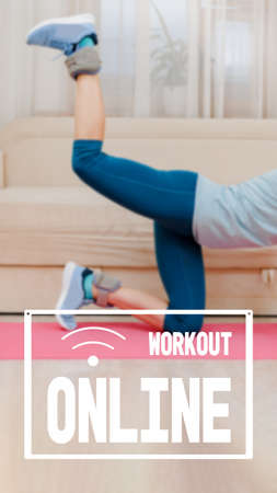 fitness stretching on yoga mat at home, physical fitness health without a gym, image with text workout online and oriented for use on a smartphone.