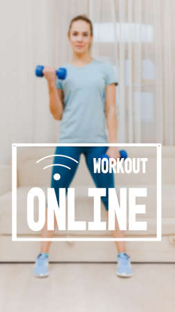 Fit healthy strong woman exercising with dumbbells at home, physical fitness health without a gym, image with text workout online and oriented for use on a smartphone.