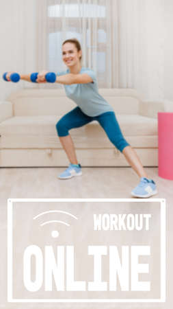 Strong young woman training with dumbbells at home and doing squats, physical fitness health without a gym, image with text workout online and oriented for use on a smartphone.