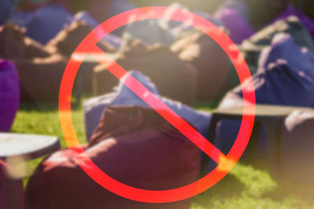 No public meetings and celebration sign during coronavirus outbreak, Sign of the prohibition of festive New Years Christmas corporate events of corporate events and parties