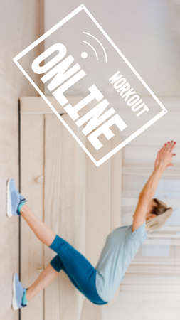 Young slim girl doing exercises in living room at home, physical fitness health without a gym, image with text workout online and oriented for use on a smartphone.
