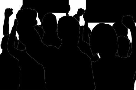 striking people in the crowd in the form of silhouettes with hand signs and posters