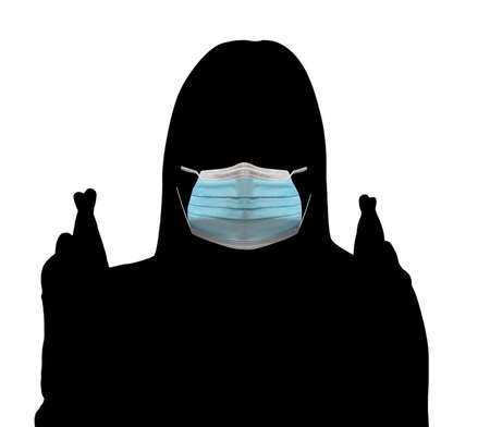 Silhouette of woman wearing respiratory mask showing crossed fingers for good luck. crossed index and middle fingers a sign of the end of the action, a call for the end of the action. Foto de archivo
