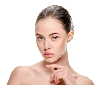 beautiful fresh girl on white background, image for skin care products, girl health solutions