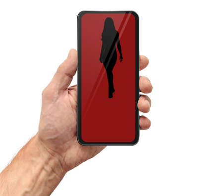 Man using dating application on smartphone to find girlfriend