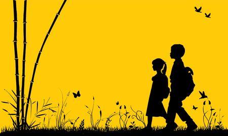 young schoolgirl: Boy & Girl walk in park Stock Photo