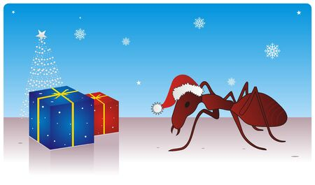 Mr. Ant Celebrating Christmas  Stock Photo