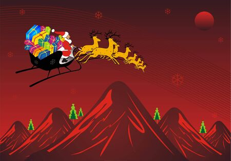 Santa Traveling in mountain Stock Photo